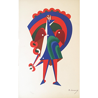 Costume design for a Peacock. (Ed.74/150) Color Lithograph by Mikhail Larionov