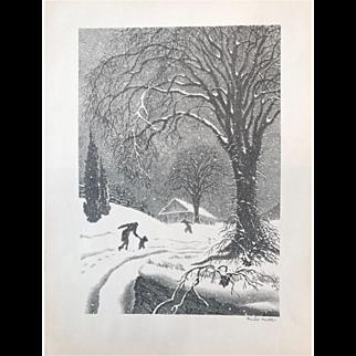 "Ellison Hoover Lithograph ""Returning Home"""