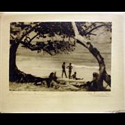 Three Nude men at the beach