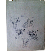 Bovine Drawing by Jacob Van Strij (1756-1815)