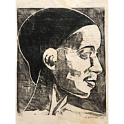 Portrait of a woman (profile view) by Werner Drewes