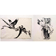 Set of 2. Lithograph and Etching by Phil Paradise & Arthur North Maria and Macaw