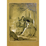 Daniel Maclise, illustration of the legend Evangeline, 19th century Drawing