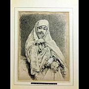 Louis Moullin Mezzotint, Oriental lady, 19th Century