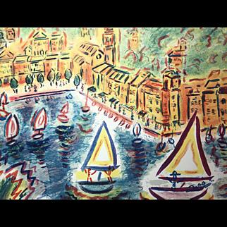 "Wayne Ensrud Lithograph, ""Portofino"" (Ed. 124/300)"