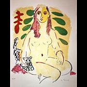 "Wayne Ensrud Lithograph, ""Lady with Cat"" (Ed.12/100)"