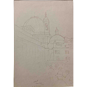 "Ben Silbert Drawing, ""Firenze at St. Lorenzo"" 1925"