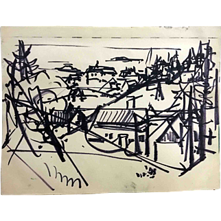 "Jean Liberté India Ink Drawing, ""The Village"""