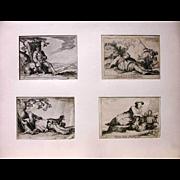 Set of Four Vintage Engravings