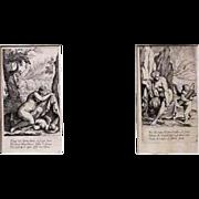 Set of 2 vintage engravings, nude woman and angel