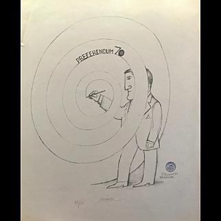 "Saul Steinberg Lithograph, ""Preferendum 70"""