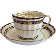 Derby Crown Period Fluted Tea Cup & Saucer c.1884, Royal Crown Derby, England