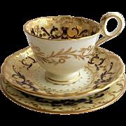 Fine Antique Davenport Porcelain Tea Cup Trio c.1815-40 from the Staffordshire Potteries, England