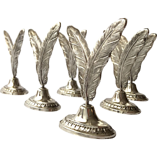 Beautiful Set of 6 Spanish .915 Silver Place Card Holders by Pedro Duran Morales, Spain