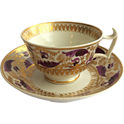 Late Georgian footed cup and saucer, Royal Crown Derby c1806-1825
