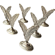 Set of 6 Spanish .915 Silver Feather Place Name Holders from Pedro Duran Morales
