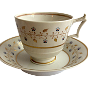 Georgian, Flight & Barr Worcester London Shape footed cup and saucer c.1820