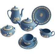 Superb Wedgwood Blue Jasperware Miniature Tea Set