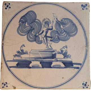 Early 18th century Delft Tile religious depiction of the Resurrection of Jesus Christ