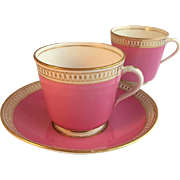 Superb Pink and Gilt Minton Tea Cup Trio, 19th Century