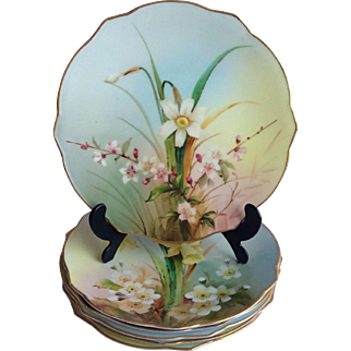 Set of 6 Royal Worcester Hand Painted Botanical Plates c.1905 England
