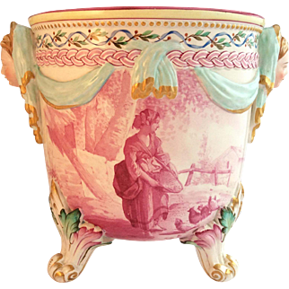 A fine 19th century French faience Jardiniere or Cache Pot with lady's head handles