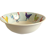 "Superb 12"" TIFFANY & CO 'Rooster' Bowl, vintage 1980's"