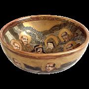 Late Meiji period Dragonware Satsuma bowl, Thousand Faces pattern, Japan