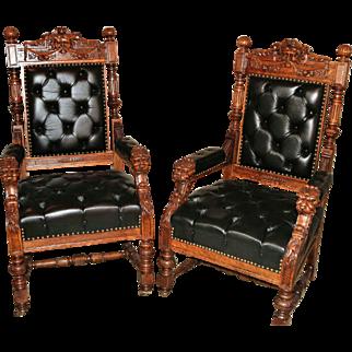 R. J. Horner - Pair of Oak North Wind Kings' Chairs
