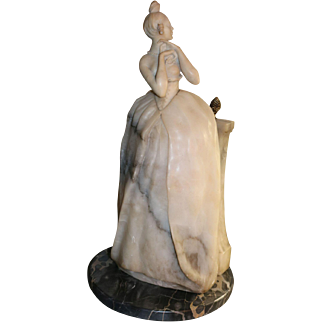 Alabaster Figural Woman on Marble Base Lamp