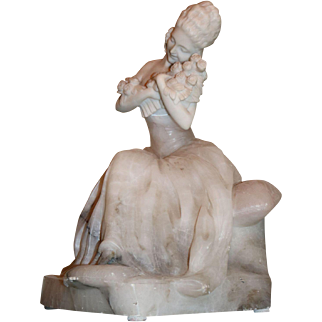 Alabaster Figural Woman with Roses Lamp