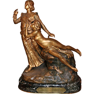 "Gilt Bronze Sculpture figural man and woman ""TANNHAUSER"" by Louis Chalon"