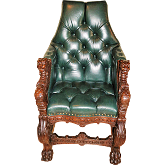 Griffin Thrown Chair in Oak and Green Leather