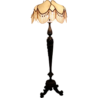 Mahogany Carved Floor lamp with Silk Shade