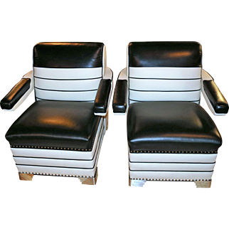 Art Deco Oversized Pair of Chairs