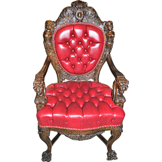 R. J. Horner (New York) Oak Chair in Red Leather