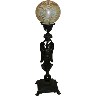 Quezal Bronze Figural Lamp with Signed Shades
