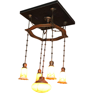 Steuben Hanging Light Fixture with inverted dome