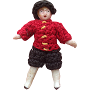 Tiny Carl Horn All Bisque doll in All Original clothing.