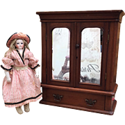 Fine Miniature Antique Armoire for your  French Fashion Doll or Bebe.