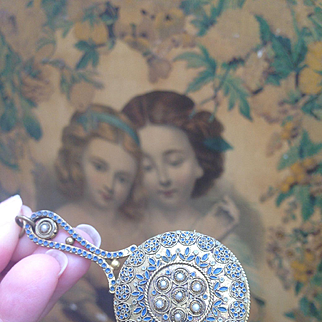Lovely Miniature ornate Antique chatelaine mirror for your French Fashion Poupée.