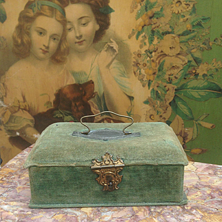 Charming French Antique hinged box for Fashion Doll or Mignonette display.