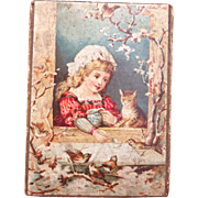 Small Antique French candy box, with pretty lithographed lid. Perfect for display with your French Bebes or Fashion dolls.,