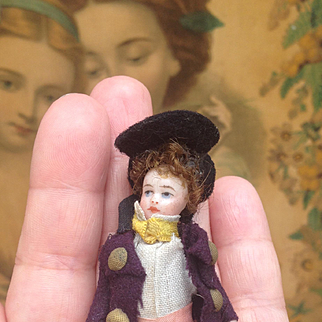 Wonderful little French All Bisque Lilliputian Boy in Excellent All Original condition.
