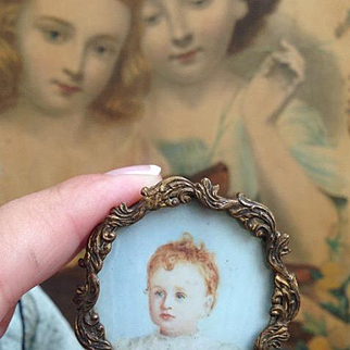 Tiny Antique Hand painted Miniature Child Portrait for FF or Bebe display or Dolls house .