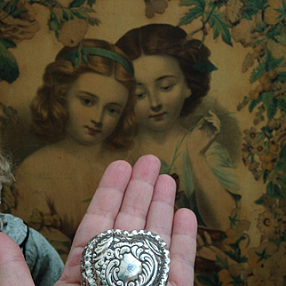 Gorgeous Antique Solid Silver Miniature hinged Trinket Box for your doll's treasures!