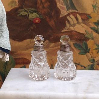 """Lovely Miniature Pair of Antique Cut Glass, Silver collared Scent Bottles. Doll Size, just 2.25"""" high"""