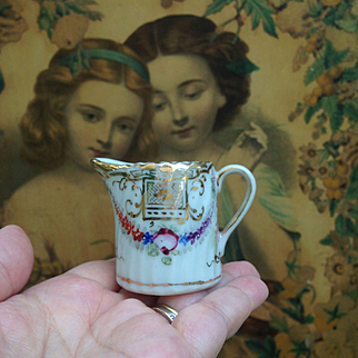 """Miniature Doll sized Antique Porcelain Jug, Hand Painted with Flowers and gold pattern. For French Fashion doll or Bébé display. 1.75"""""""