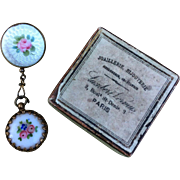 Rare Tiny Enamelled French Fashion Doll, Fob Watch and Brooch in Original Box..for Huret, Rohmer, Bru, Jumeau etc..