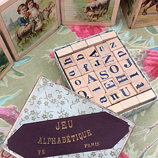 Small Antique French Boxed Game. 'JEU ALPHABÉTIQUE' for your Bebe display.